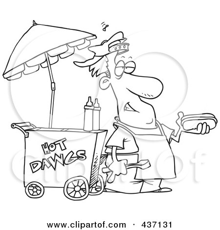 Royalty-Free (RF) Clipart Illustration of a Black And White Outline Design Of A Messy Hot Dog Vendor By His Cart by toonaday
