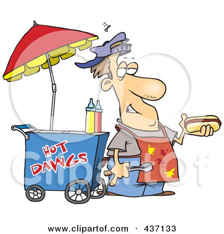 Royalty-Free (RF) Clipart Illustration of a Messy Hot Dog Vendor By His Cart by toonaday