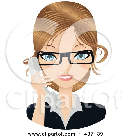 Royalty-Free (RF) Clipart Illustration of a Dirty Blond Female Secretary Talking On A Phone by Melisende Vector
