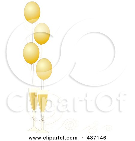 Royalty-Free (RF) Clipart Illustration of a New Year Border Of Golden Party Balloons With Champagne Glasses And Ribbons by Maria Bell