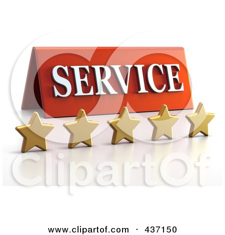 Royalty-Free (RF) Clipart Illustration of a 3d Service Plaque With Five Golden Stars - 1 by Tonis Pan