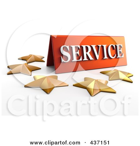 Royalty-Free (RF) Clipart Illustration of a 3d Service Plaque With Five Golden Stars - 2 by Tonis Pan