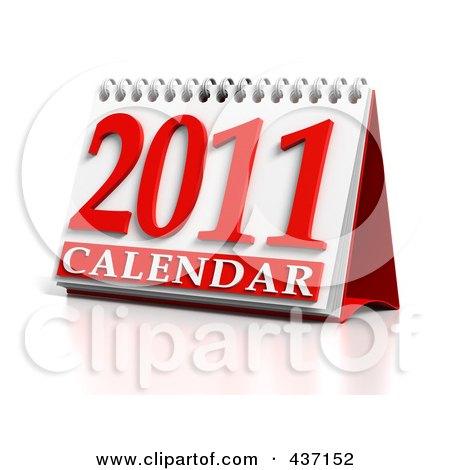 Royalty-Free (RF) Clipart Illustration of a 3d 2011 Desktop Calendar by Tonis Pan