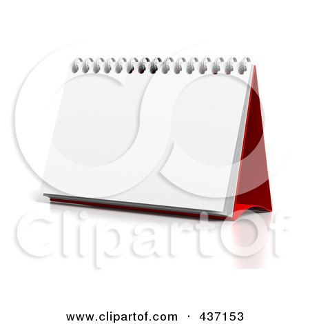 Royalty-Free (RF) Clipart Illustration of a 3d Blank Upright Desktop Calendar by Tonis Pan
