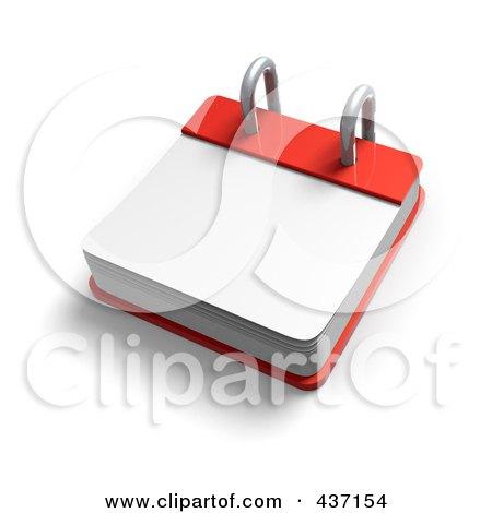 Royalty-Free (RF) Clipart Illustration of a 3d Blank Desktop Calendar by Tonis Pan