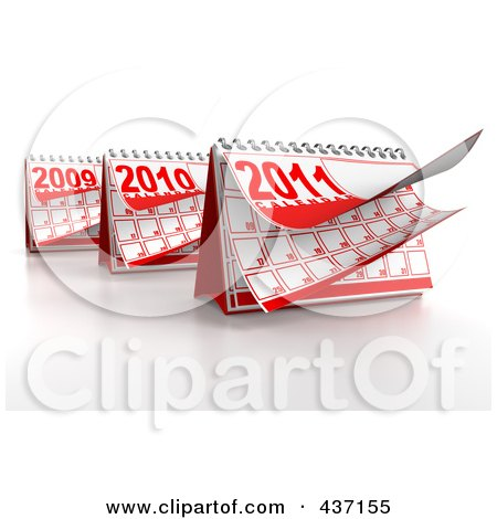 Royalty-Free (RF) Clipart Illustration of 3d Yearly Desktop Calendars by Tonis Pan