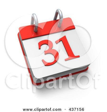 Royalty-Free (RF) Clipart Illustration of a 3d 31 Desktop Calendar by Tonis Pan