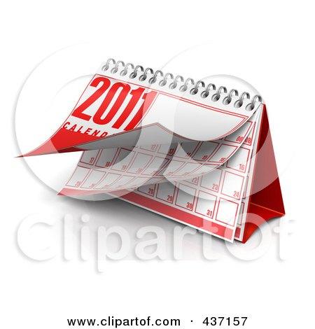 Royalty-Free (RF) Clipart Illustration of a 3d Spiral 2011 Desktop Calendar by Tonis Pan