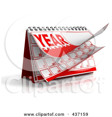 Royalty-Free (RF) Clipart Illustration of a 3d Year Desktop Calendar by Tonis Pan