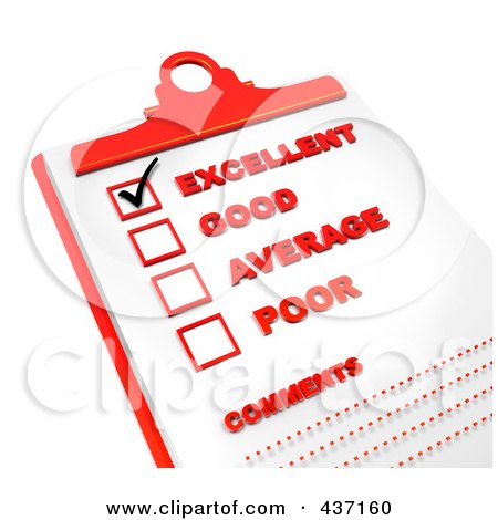 Royalty-Free (RF) Clipart Illustration of a 3d Rating Check List On A Red Clipboard - 1 by Tonis Pan