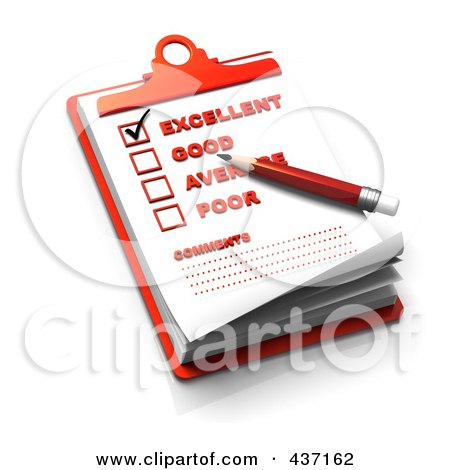 Royalty-Free (RF) Clipart Illustration of a 3d Rating Check List On A Red Clipboard - 2 by Tonis Pan