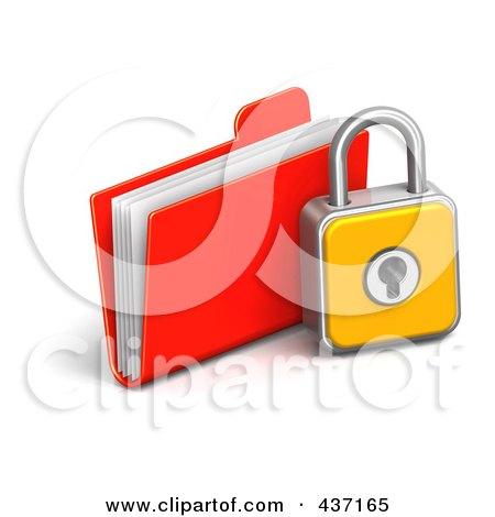 Royalty-Free (RF) Clipart Illustration of a 3d Padlock With A File Folder by Tonis Pan