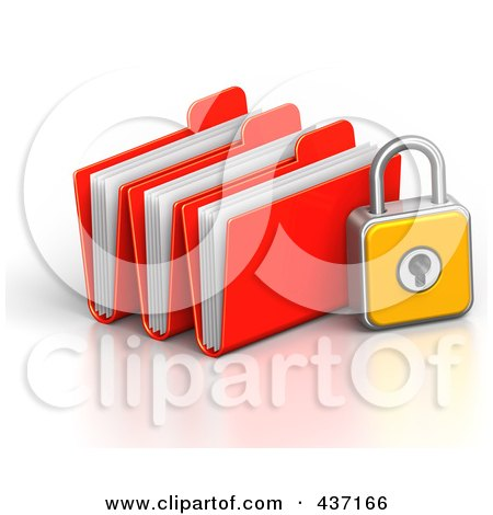 Royalty-Free (RF) Clipart Illustration of a 3d Padlock With File Folders by Tonis Pan
