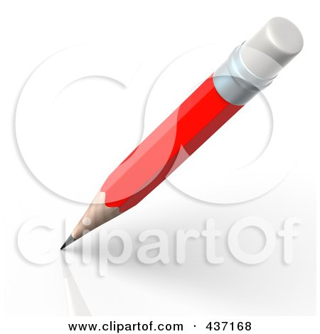 Royalty-Free (RF) Clipart Illustration of 3d Red Pencil Writing by Tonis Pan