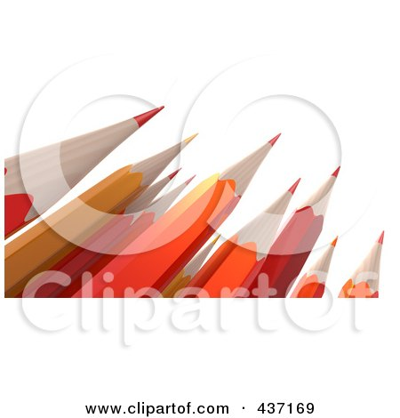 Royalty-Free (RF) Clipart Illustration of 3d Orange And Red Sharp Pencils Pointed Upwards by Tonis Pan