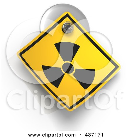Royalty-Free (RF) Clipart Illustration of a 3d Radioactive Warning Sign On A Suction Cup by Tonis Pan