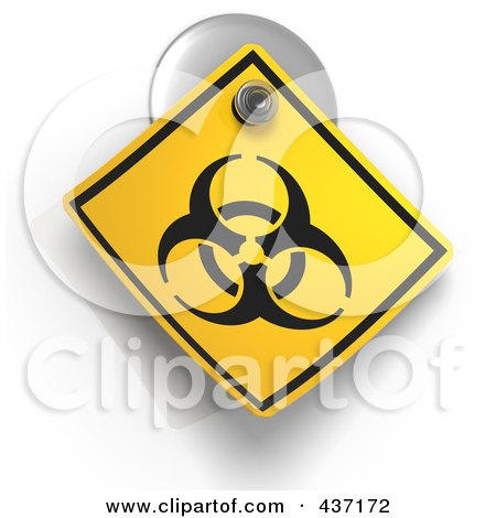 Royalty-Free (RF) Clipart Illustration of a 3d Biohazard Warning Sign On A Suction Cup by Tonis Pan