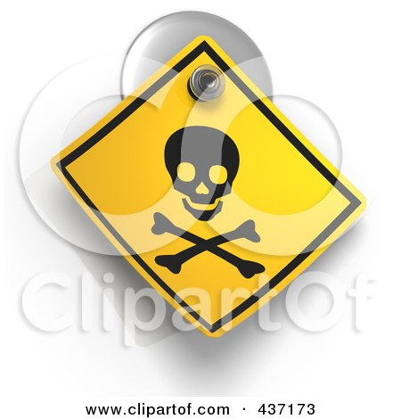 Royalty-Free (RF) Clipart Illustration of a 3d Poison Warning Sign On A Suction Cup by Tonis Pan