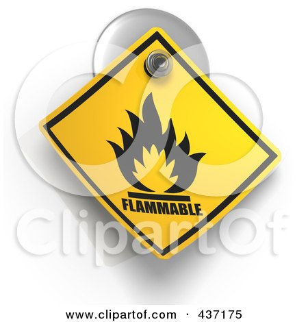 Royalty-Free (RF) Clipart Illustration of a 3d Flammable Warning Sign On A Suction Cup by Tonis Pan