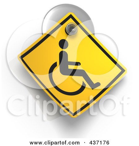 Royalty-Free (RF) Clipart Illustration of a 3d Handicap Warning Sign On A Suction Cup by Tonis Pan