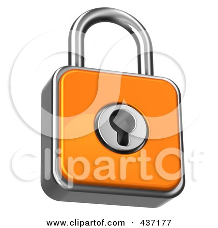 Royalty-Free (RF) Clipart Illustration of a 3d Orange Padlock by Tonis Pan