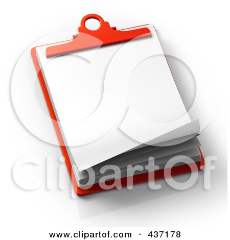 Royalty-Free (RF) Clipart Illustration of 3d Blank Papers On A Red Clipboard by Tonis Pan