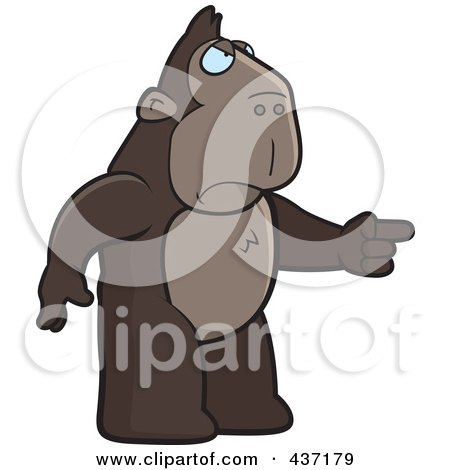 Royalty-Free (RF) Clipart Illustration of an Angry Ape Standing And Pointing His Finger To The Right by Cory Thoman