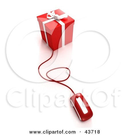 Clipart Illustration of a Computer Mouse Connected To A Red Christmas Gift by Frank Boston