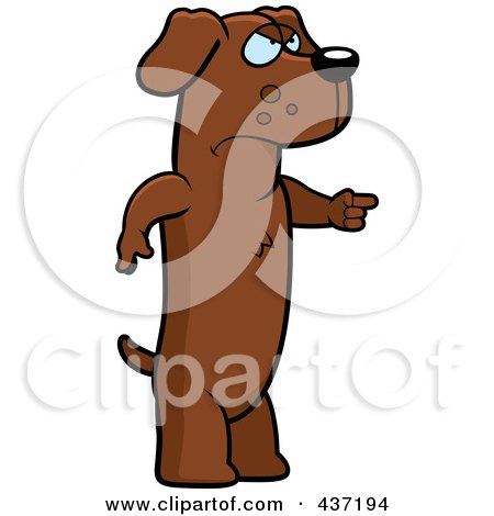 Royalty-Free (RF) Clipart Illustration of an Angry Dachshund Standing And Pointing His Finger To The Right by Cory Thoman