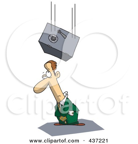 Royalty-Free (RF) Clipart Illustration of a Safe Falling On An Unlucky Cartoon Businessman by toonaday