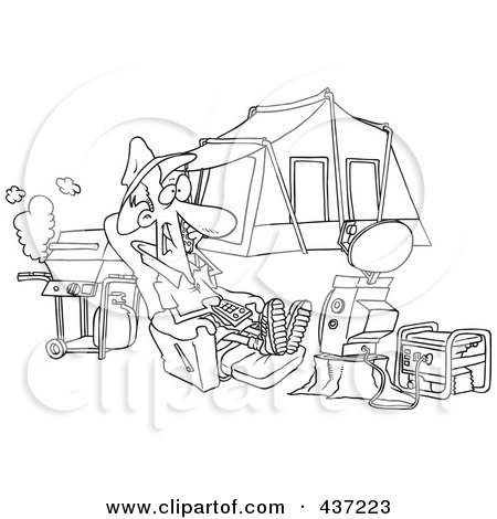 Royalty-Free (RF) Clipart Illustration of a Black And White Outline Design Of A Man Watching Tv Hooked Up To A Generator At His Camp Site by toonaday