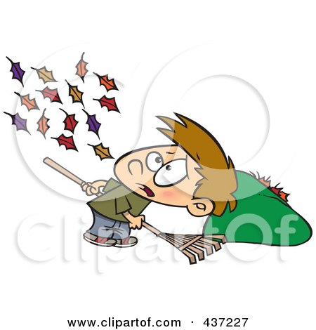 Royalty-Free (RF) Clipart Illustration of a Breeze Blowing More Leaves On The Ground For A Cartoon Boy To Rake Up by toonaday