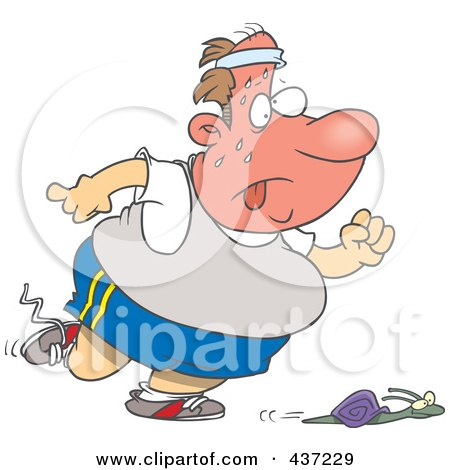 Royalty-Free (RF) Clipart Illustration of a Cartoon Snail Winning A Race Against An Unfit Man by toonaday