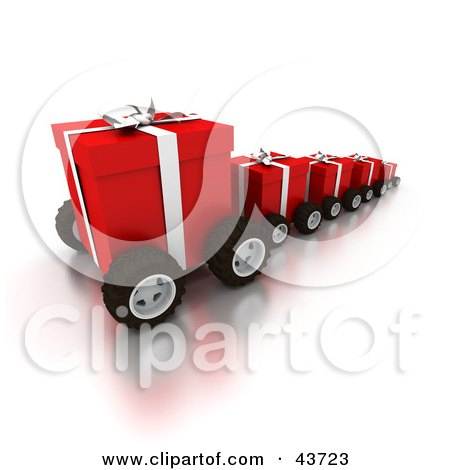Clipart Illustration of a Line Of Red Christmas Gifts On Wheels by Frank Boston