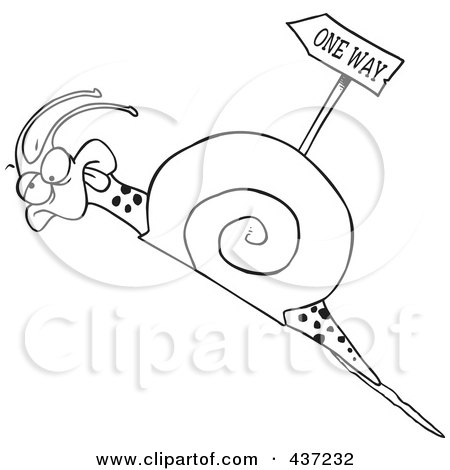 Royalty-Free (RF) Clipart Illustration of a Black And White Outline Design Of A Tired Snail Going Uphill Near A One Way Sign by toonaday