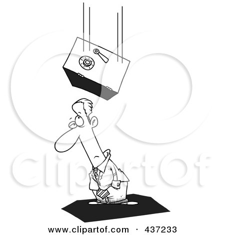Royalty-Free (RF) Clipart Illustration of a Black And White Outline Design Of A Safe Falling On An Unlucky Businessman by toonaday