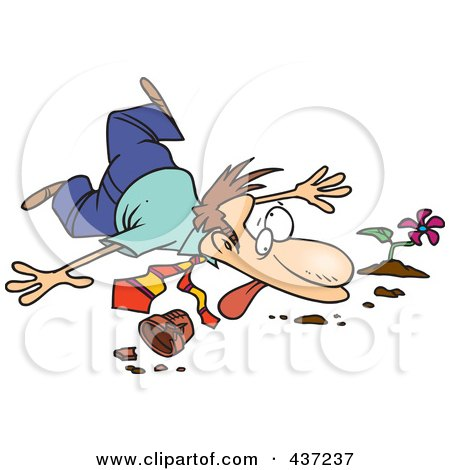 Royalty-Free (RF) Clipart Illustration of a Collapsed Unlucky Cartoon Businessman Over A Pot by toonaday