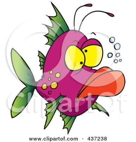 Royalty-Free (RF) Clipart Illustration of a Grumpy Ugly Fish by toonaday