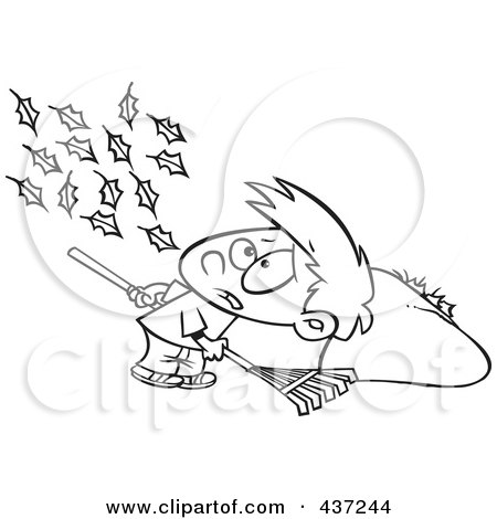 Royalty-Free (RF) Clipart Illustration of a Black And White Outline Design Of A Breeze Blowing More Leaves On The Ground For A Boy To Rake Up by toonaday