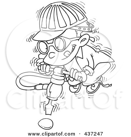 Royalty-Free (RF) Clipart Illustration of a Black And White Outline Design Of A Boy Trying To Use A Jackahmmer On An Umbreakable Egg by toonaday