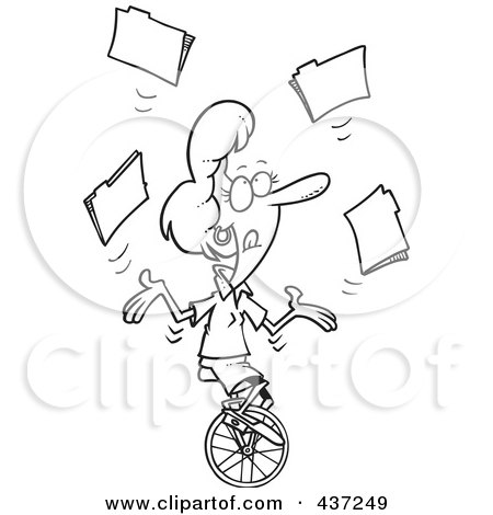 Royalty-Free (RF) Clipart Illustration of a Black And White Outline Design Of A ...