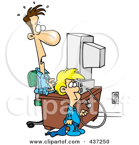 Royalty-Free (RF) Clipart Illustration of a Cartoon Boy Shocking His Dad By Unplugging His Computer by toonaday