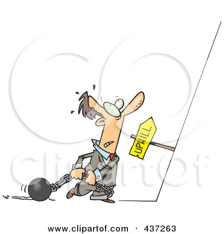 Royalty-Free (RF) Clipart Illustration of a Cartoon Man Ready To Drag His Ball And Chains Uphill by toonaday