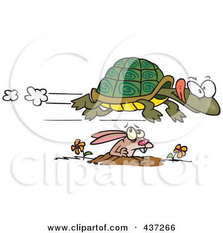 Royalty-Free (RF) Clipart Illustration of a Fast Tortoise Flying Over A Hare by toonaday