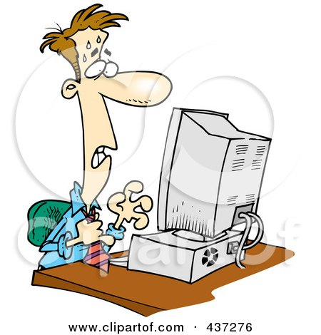 Royalty-Free (RF) Clipart Illustration of a Stressed Cartoon Businessman Worrying At His Computer by toonaday