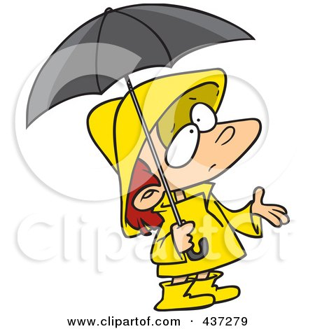 cartoon girl face sad. Cartoon Girl In Rain Gear