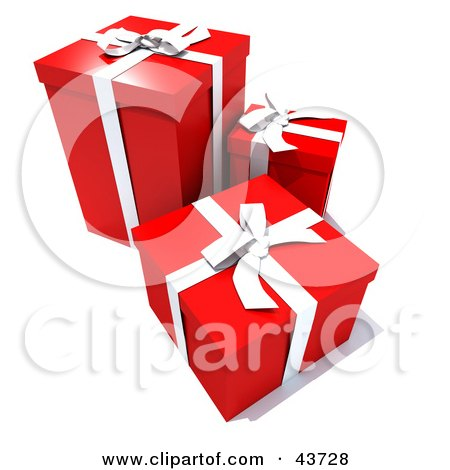 Three Red Gift Boxes With White Ribbons And Bows Posters, Art Prints