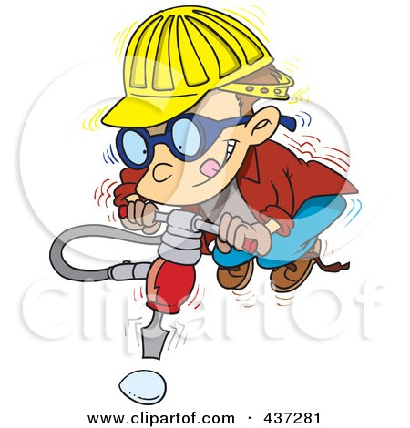 Royalty-Free (RF) Clipart Illustration of a Boy Trying To Use A Jackhammer On An Unbreakable Egg by toonaday