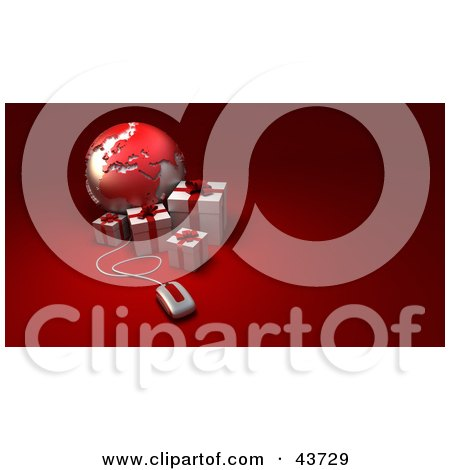 Clipart Illustration of a Computer Mouse Connected To A Globe Featuring Europe, With Red Presents by Frank Boston