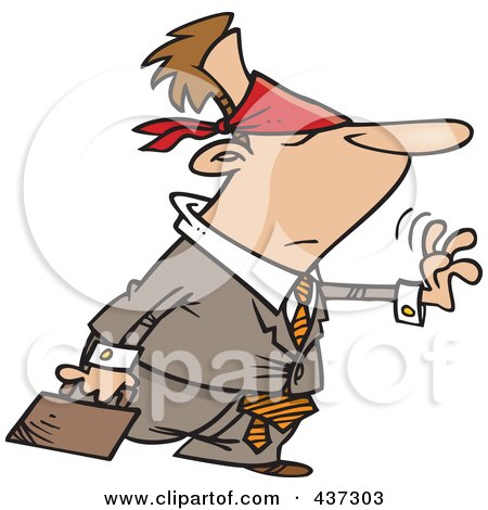 Royalty-Free (RF) Clipart Illustration of a Blindfolded Cartoon Businessman Reaching Out With Uncertainty by toonaday